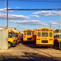 Bus de escuela en Red Hook, Brooklyn, Nueva York