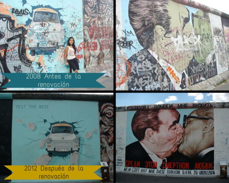East Side Gallery del Muro de Berlín antes y después de la renovación