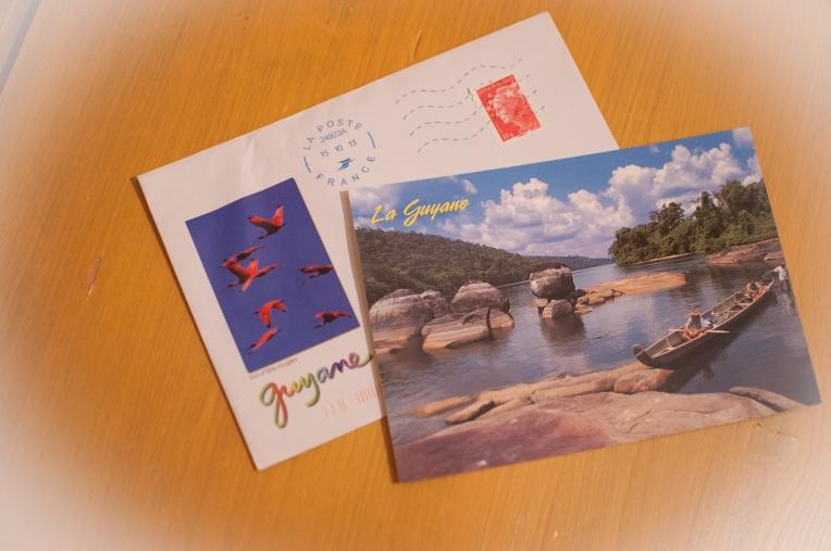 Postal, sobre y sello de la Guyana francesa