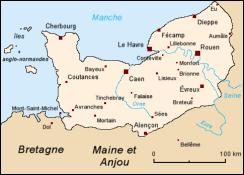 Mapa histórica de una parte de Normandía
