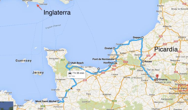 Mapa viaje en Normandía