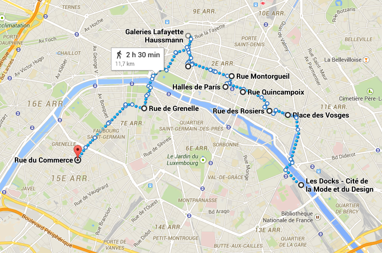 mapa paris shopping