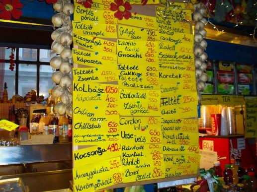 Anuncio de comida disponible en mercando en Budapest