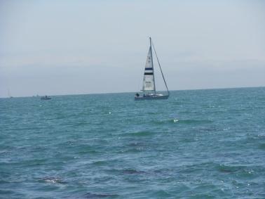 Comparen los colores del mar y del cielo de esta foto con el otro velero. Este es el efecto grisáceo que se ve cuando te adentras en el Océano Pacífico