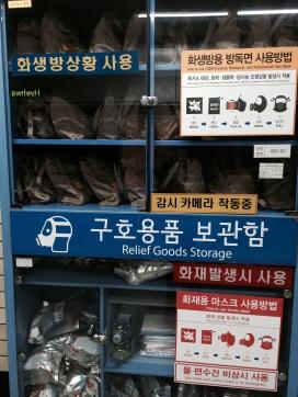 kit anti gas de emergencia en el metro de Seúl