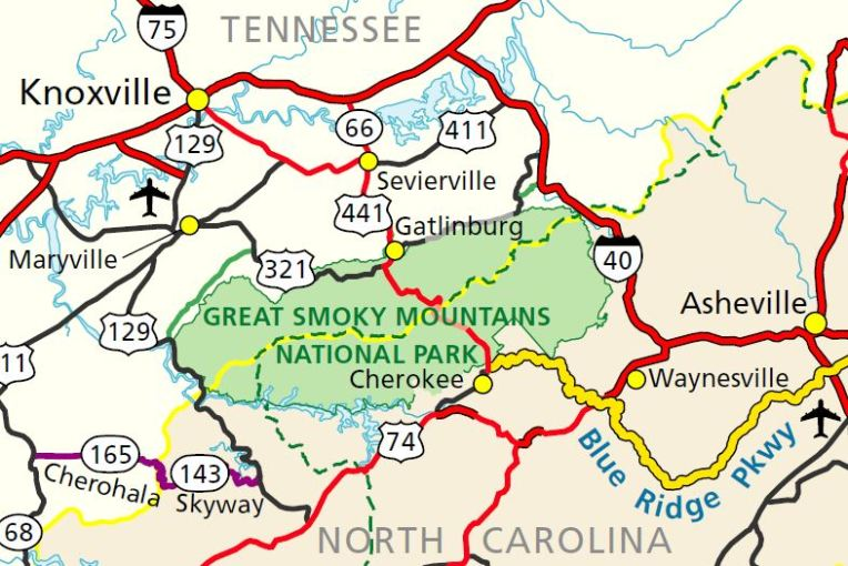 Map Great Smoky Mountains