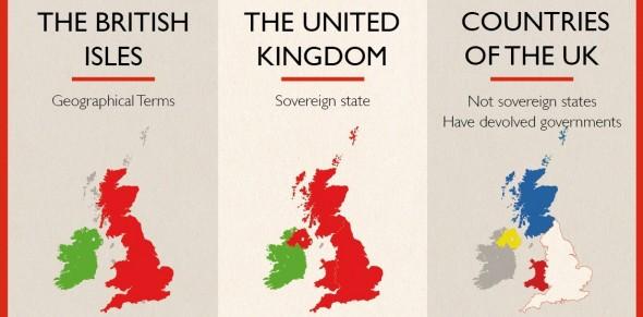 Mapa de las islas británicas, Reino Unido y los paises que conforman Reino Unido. Imagen de canalviajes.com