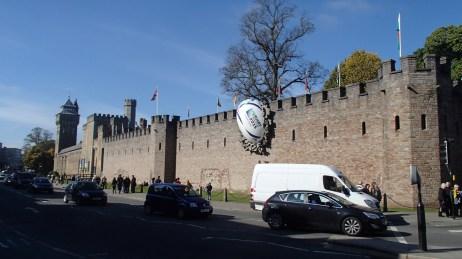 Castillo Cardiff decorado para la copa de Rugby