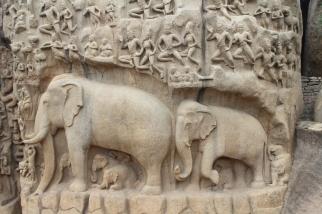 Elefantes en el relieve del Descenso del Ganges