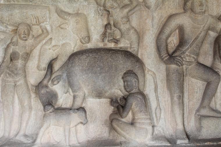 Historias mitológicas del hinduismo en relieve de piedra tallada Mahabalipuram Chennai Tamil Nadu India
