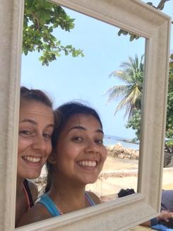 Con mi amiga Tamara de España, mi única compañera hispanohablante