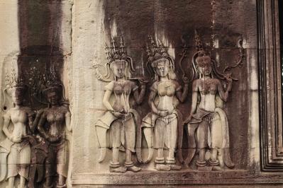 Las apsaras o ninfas, diosas acuáticas de la mitología hindú, son parte importante de la cultura Jemer de Camboya